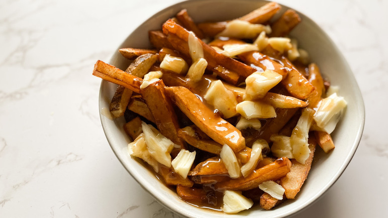 Fries covered in gravy and cheese curds