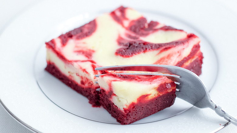 red velvet brownie on a plate
