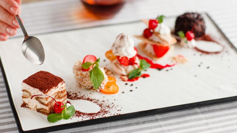 Plate of fancy desserts