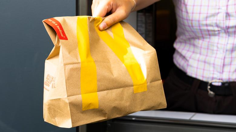 McDonald's bag at drive-thru