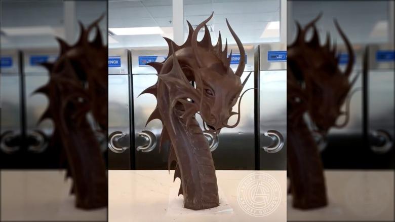 Start of chocolate dragon sculpture