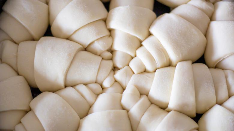 Frozen raw croissants