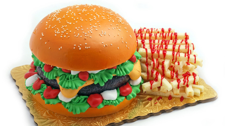 realistic burger and fries cake