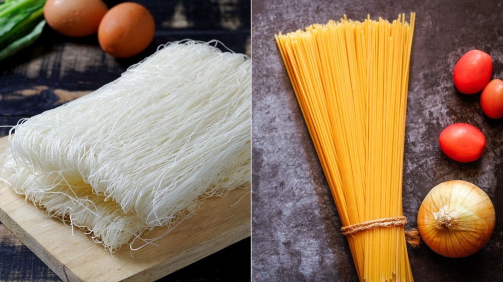 Split image with rice noodles on the left and spaghetti on the right