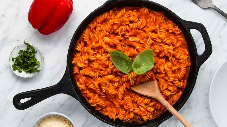 pasta in a pan
