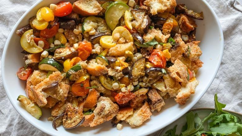 roasted vegetable panzanella served