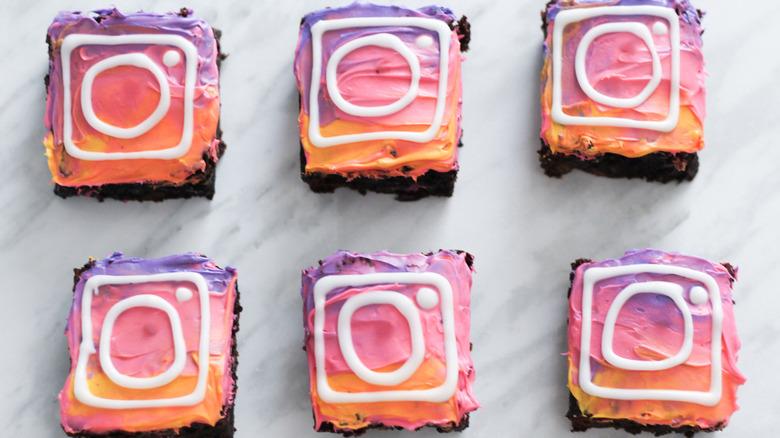 Instagram-themed brownies
