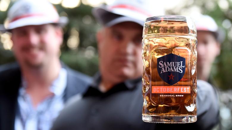 Close-up Sam Adams OktoberFest beer in mug