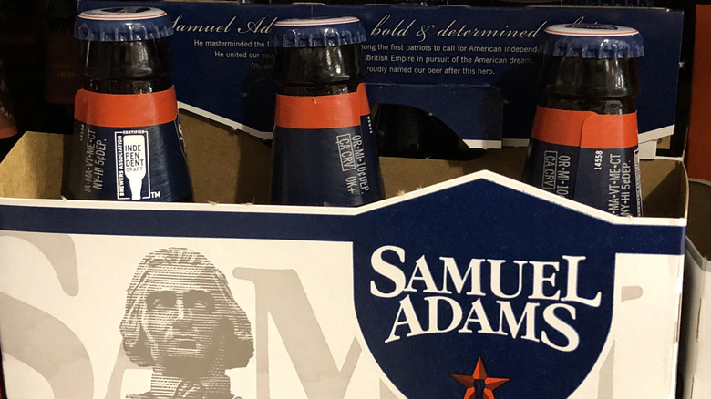 A container of Sam Adams beer