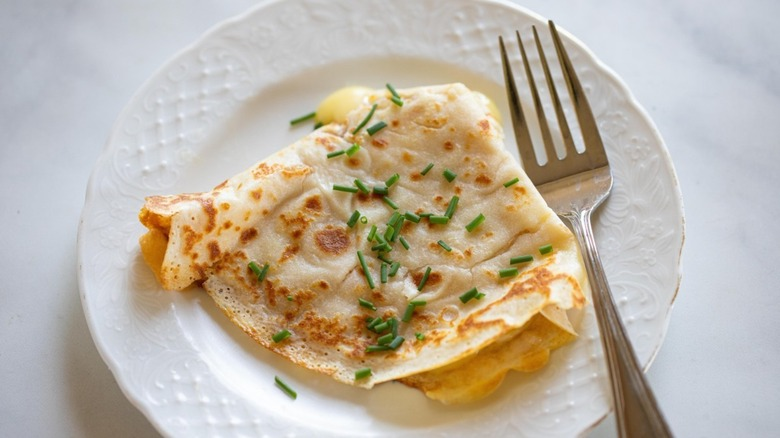 brie-stuffed crepe with chives