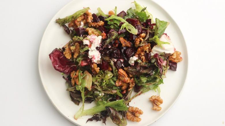 roasted beet salad on plate