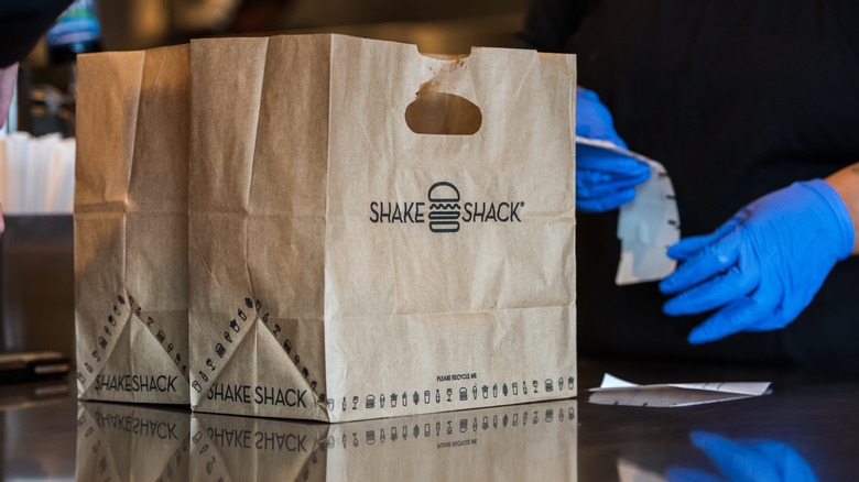 Brown Shake Shack takeout bag
