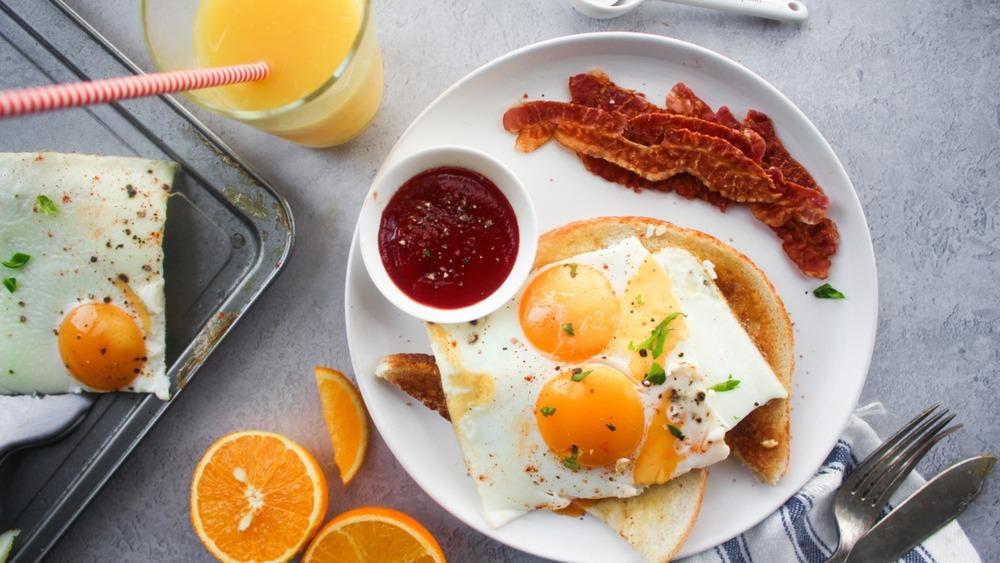 sheet pan fried eggs served