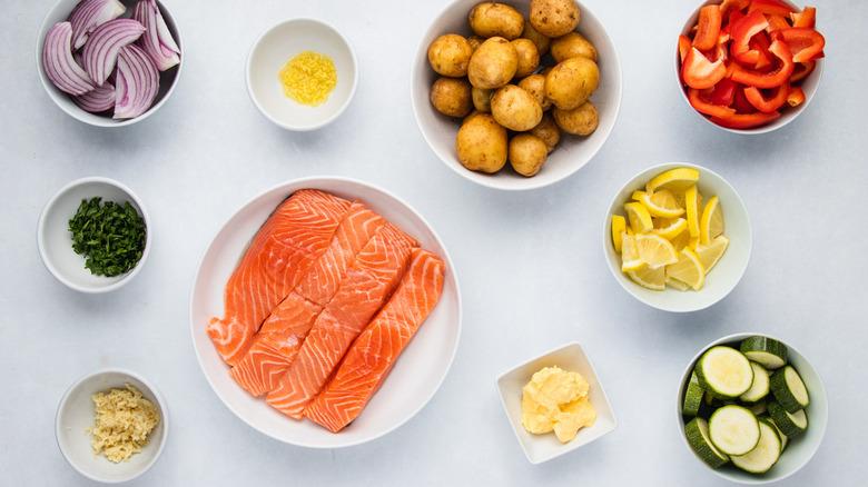 Ingredients for sheet pan garlic salmon recipe