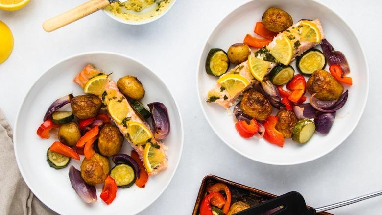 Sheet Pan Garlic Salmon Recipe, plated