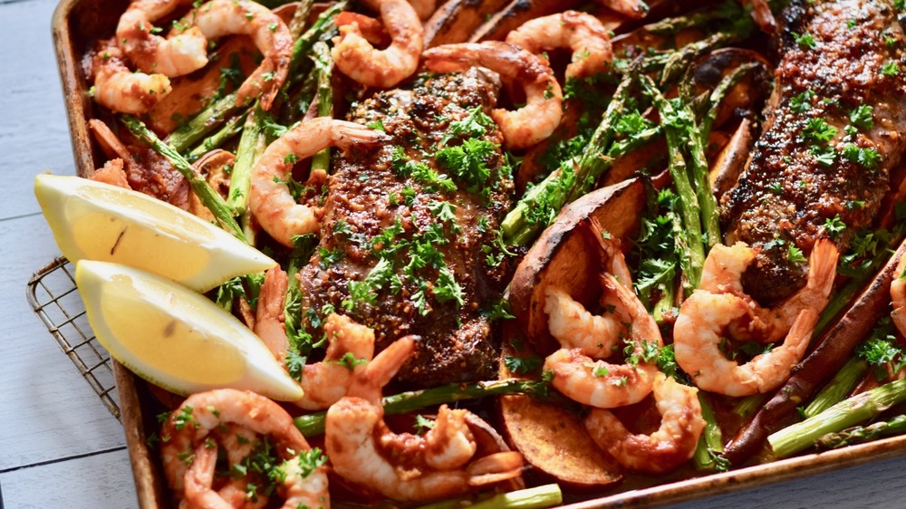 surf and turf in sheet pan