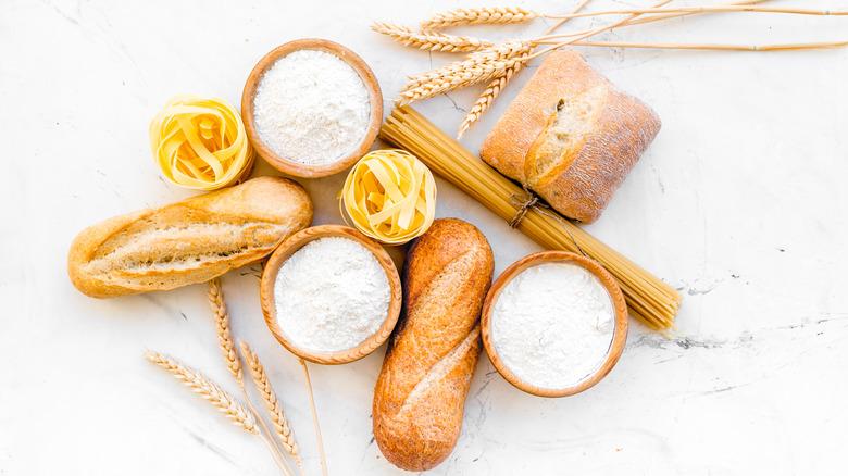 White bread, pasta, and flour