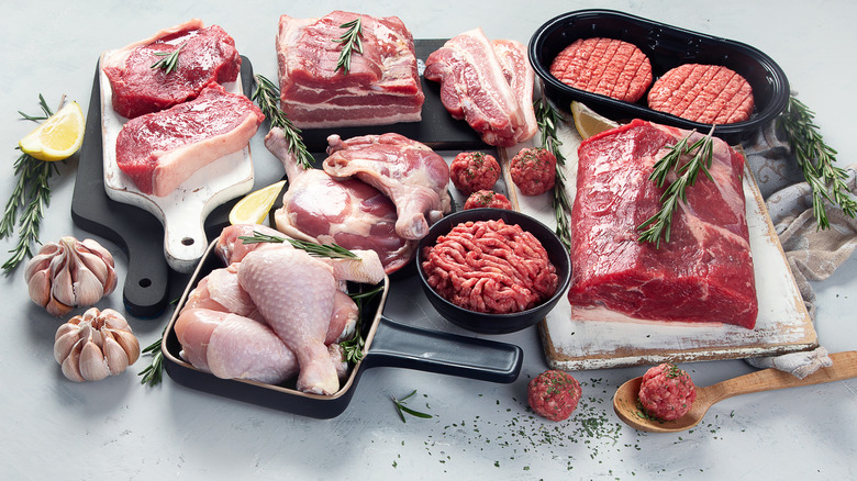 Variety of uncooked meats