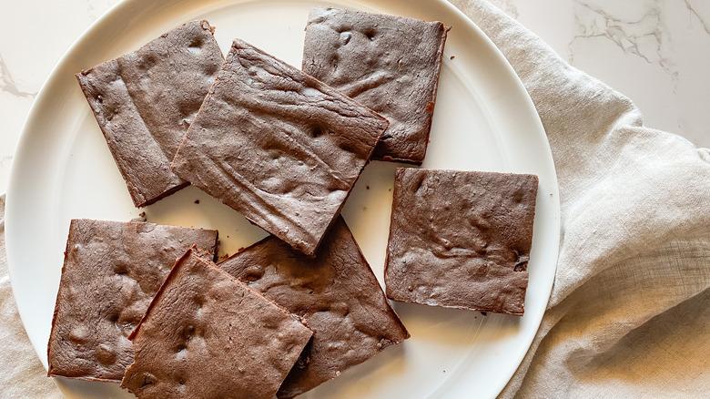 plate of black bean brownies