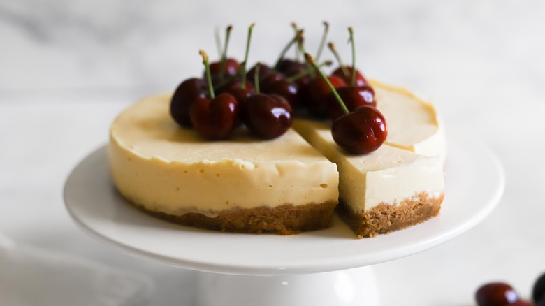 Instant Pot cheesecake on serving tray