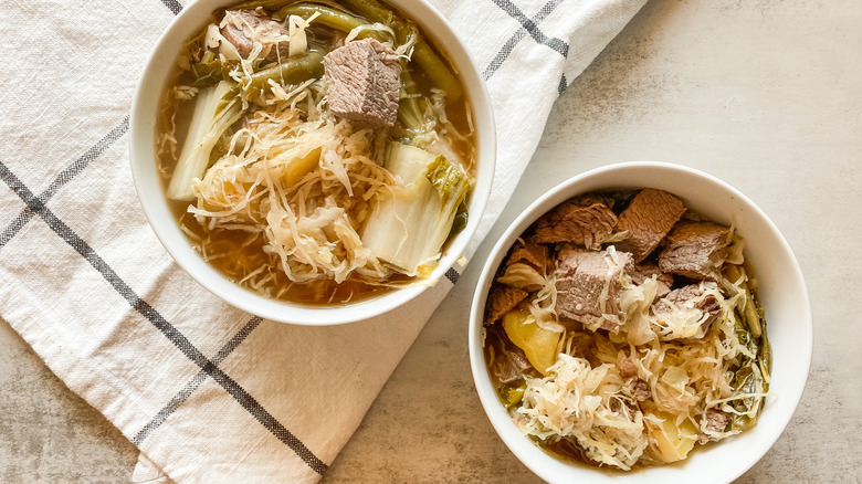 bowls of beef Sinigang