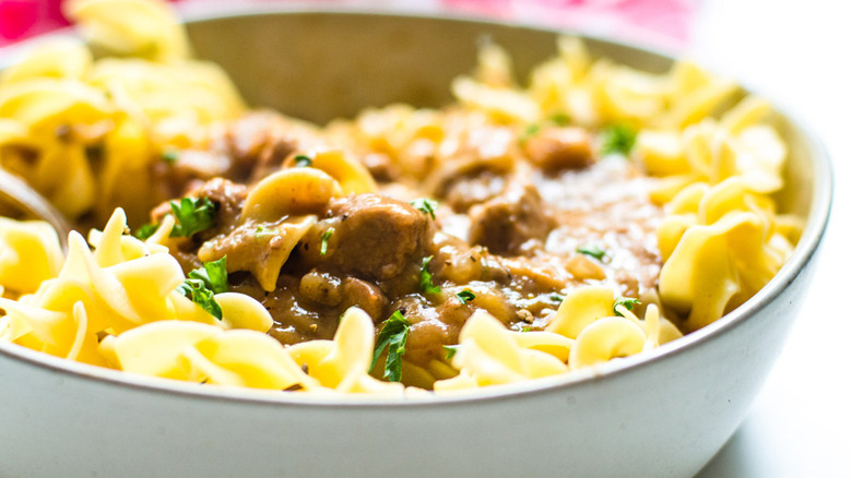 bowl beef tips and noodles