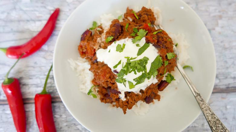 chili con carne over rice