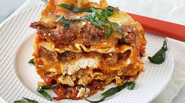 lasagna slice on plate