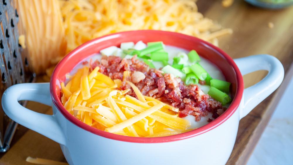 slow cooker potato soup in bowl