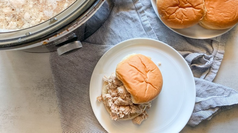 slow cooked pork on a bun