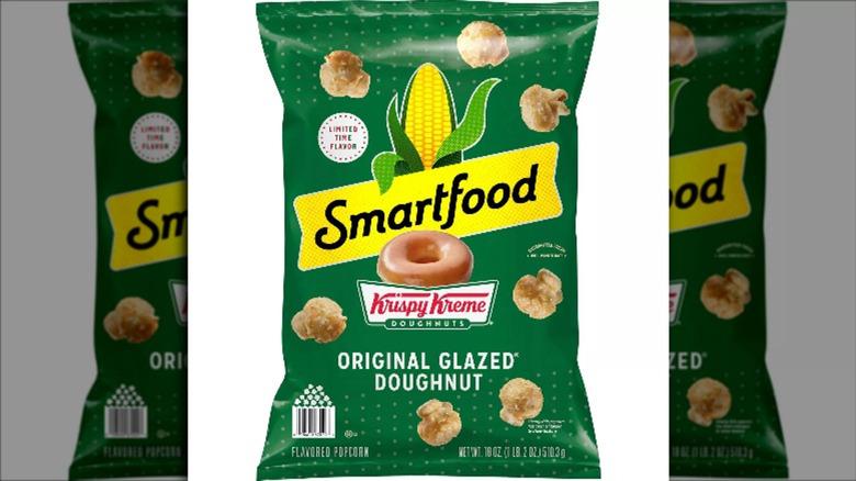 Green bag of Smartfood's Krispy Kreme original glazed donut popcorn