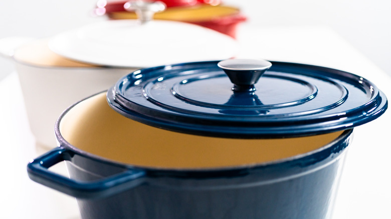Blue Dutch oven with the lid off