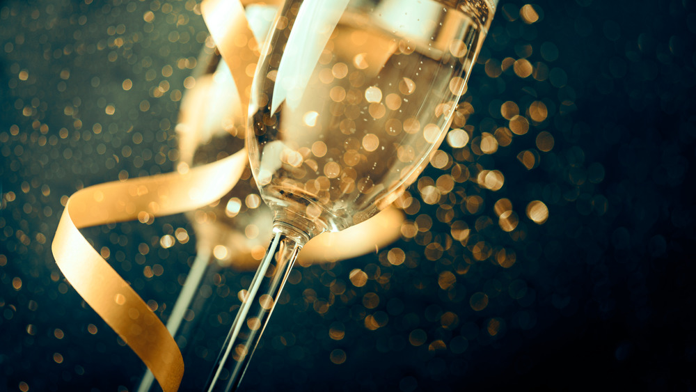 Champagne sparkles in flute