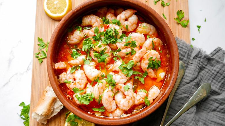 spanish garlic shrimp in a dish
