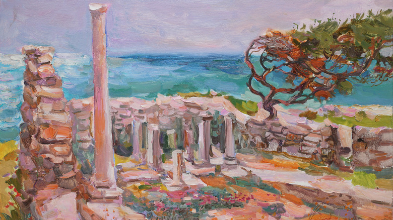 A painting of Roman ruins with an olive tree