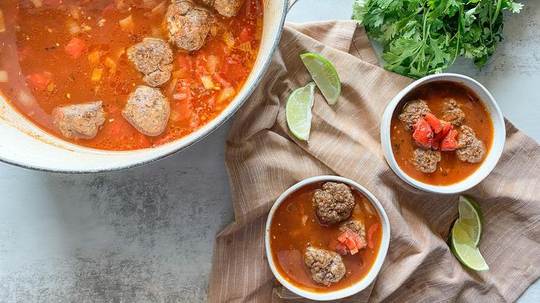 spicy albondigas soup