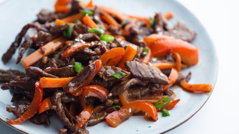 Szechuan beef on plate
