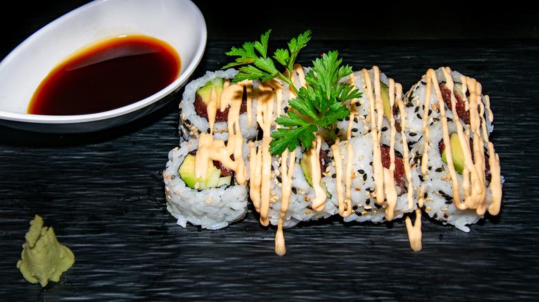 Spicy tuna rolls with mayo