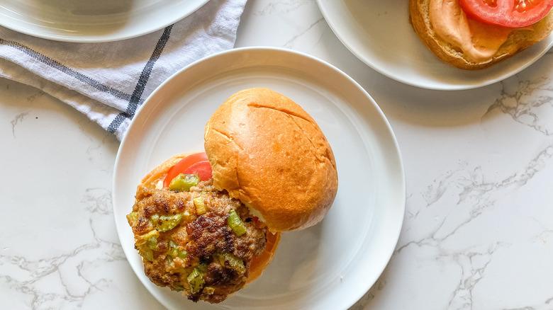 turkey burger on a plate