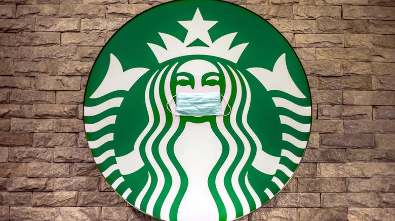 Starbucks logo with mask
