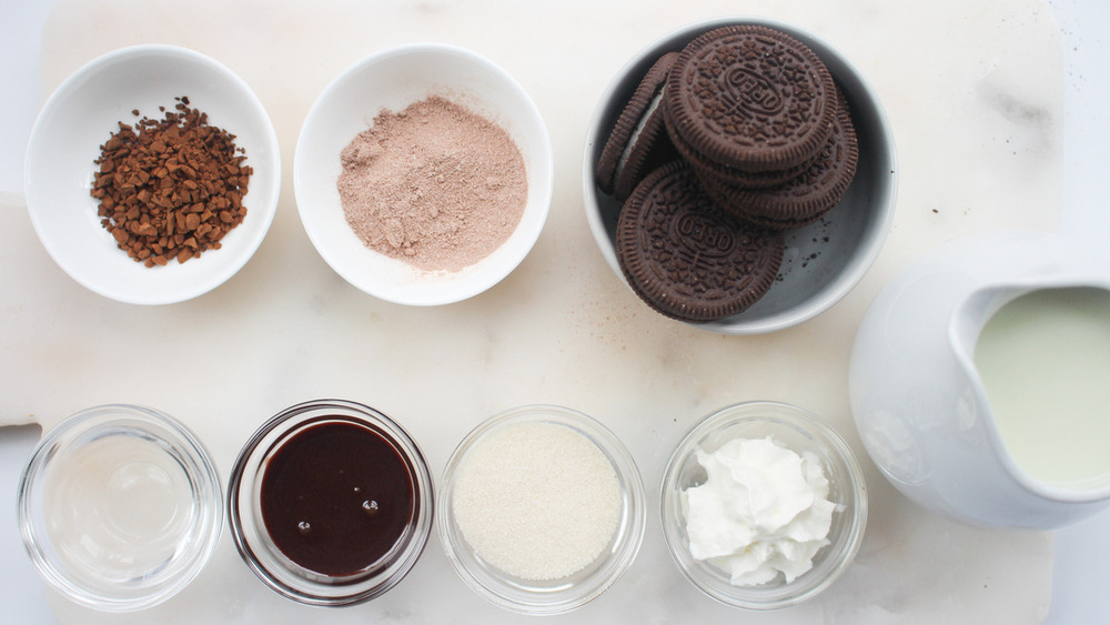ingredients for Starbucks Mocha Cookie Crumble Frappuccino Blended Beverage copycat recipe