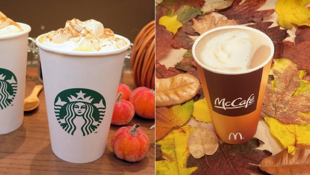 Pumpkin spice lattes from Starbucks and McDonald's