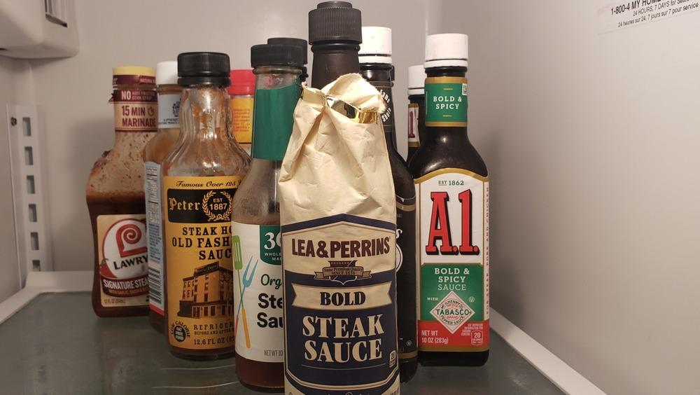 Steak sauces in fridge
