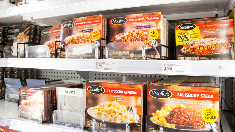 Boxes of Stouffer's on grocery store shelves