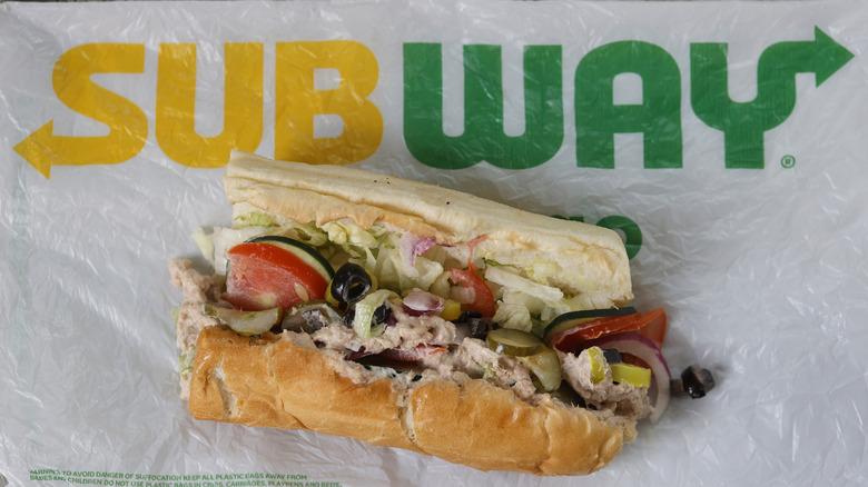 Subway tuna sandwich on a Subway wrapper