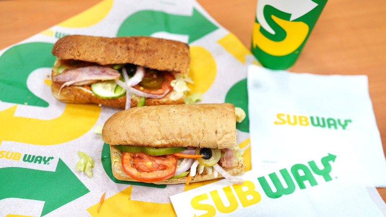 Subway sandwiches with vegetables