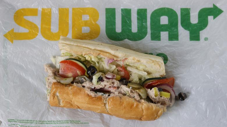 Subway tuna sandwich on wrapper