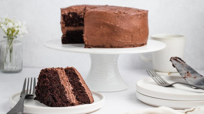 A gluten-free super moist chocolate cake served