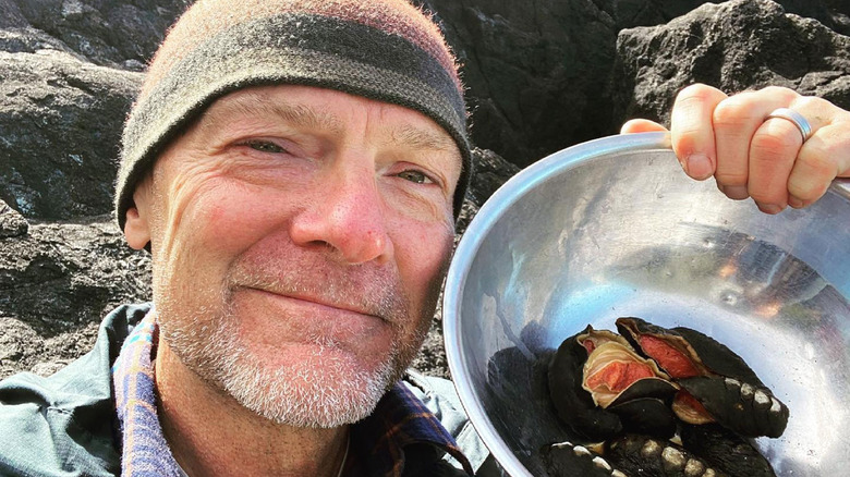 Les Stroud with wild foods