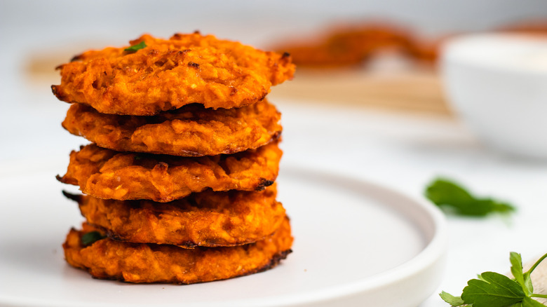 sweet potato fritters on plate